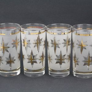 Atomic MCM Dominion Frost & Gold Glass Tumblers